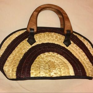 Handbags - Handmade Filipino Pandan Leaf Handbag BROWN/CREAM